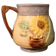 "Victorian Majolica 4"" Pitcher Sunflower & Oriental Fan Design"