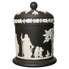 Black Basalt Jasperware Covered Jar Greek Maidens