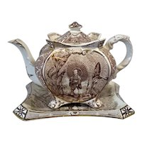 Chinoiserie Teapot & Tray 1894 Victorian Antique BROWN Gold Gilded Burleigh Ware