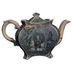Chinoiserie Teapot 1894 Victorian Antique BLUE Burleigh Ware