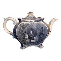 Chinoiserie Teapot 1894 Victorian Antique INDIGO BLUE Burleigh Ware