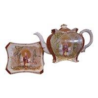 Chinoiserie Teapot & Tray 1894 Victorian Antique Gilt Burleigh Ware