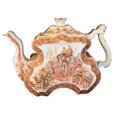 Teapot India 19th Century Burleigh Ware Burgess & Leigh Teapot Tiger Hunt