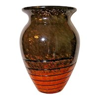 Murano Large Vase Spatter Glass Flame Orange to Brown