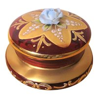 Murano Ruby Red Gold Gilt Trinket Box Enameled Glass