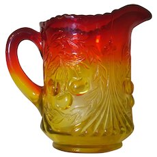Amberina Glass Wreathed Cherries Creamer L. G. Wright Carnival Glass Red Amber