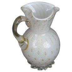 Vintage Murano Glass Pitcher Barbini Aventurine Gold Flecks White