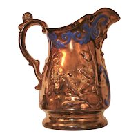 Victorian Card Players Copper Luster Pitcher Lusterware