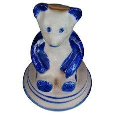 Teddy Bear Bank Salt Glaze Primitive BBP Ohio Stoneware