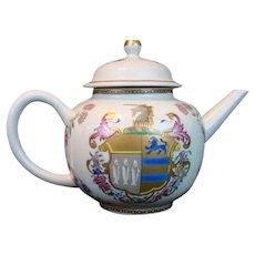 Mottahedeh Armorial KITSON/GREGORY UNICORN TEA POT Vista Alegre Chinese Export