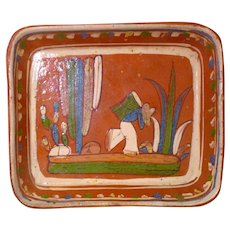 Mexican Tlaquepaque Rectangle Dish Folk Art Pottery Man Cactus REDWARE