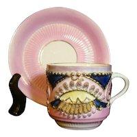 Pink & Indigo Lustre Ware Coffee Cup & Saucer Gold Spaghetti