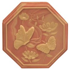 """Pink Butterfly Trinket Music Box """"Born Free"""" Incolay Stone"""