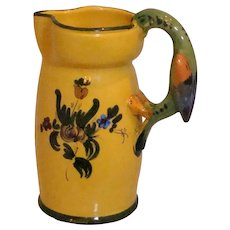 Parrot Handled Italian Majolica Pitcher Faience
