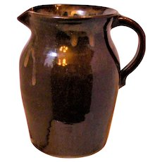 "9"" Pitcher Brown Drip Hand Thrown Primitive"