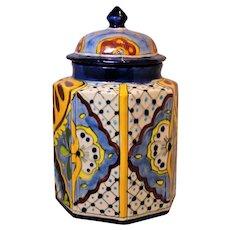 "12"" Talavera Pottery Cobalt Canister Octagonal"