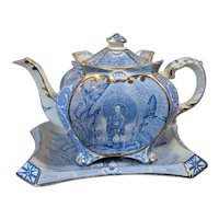 Light Blue Teapot & Trivet Tray Antique Chinoiserie Geisha Garden Scene Burleigh Ware