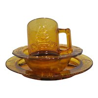 Children's Tiara Plate Cup Bowl Amber Mother Goose Nursery Rhymes