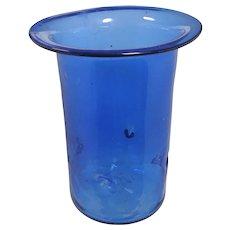 Huge Handblown Mexican Cobalt Glass Vase & Candleholder