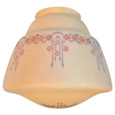 Art Deco Milk Glass Shade Geometric Flowers Dome Ceiling
