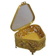 Vintage ormolu metal filigree Beveled Glass Triangle Jewelry Casket, or Box