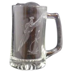 PAIR Crystal Steins Etched Pheasant Hunting Shooting Club 1999 Opening Day