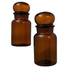 Vintage PAIR Brown Amber Apothecary Jars with Lids Belgium