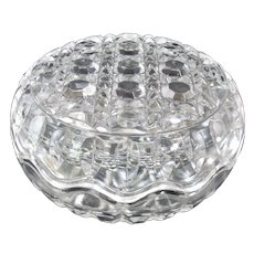 Pressed Glass Trinket Box Round Cane & Button Scalloped Edge