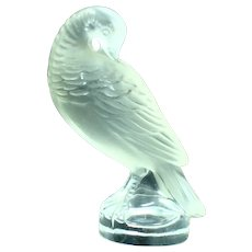"""Lalique 3"""" Small Seal Paperweight Hawk Quail"""