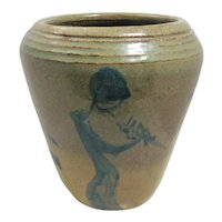 Vase Art Pottery Stoneware Kokopelli or 3 Flute players