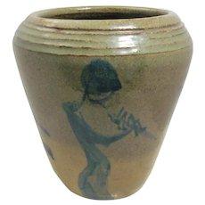 Vase Art Pottery Stoneware Kokopelli or 3 Flute players