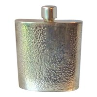 "Hip Flask 4oz Mexico Alpaca Silver Hand Hammered ""Initial Space Blank"""
