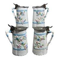 Set 4 Majolica Pewter Lid Syrup Pitchers Basket Weave & For-get-me-nots