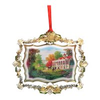 Mt Vernon 2012 Porcelain Christmas Ornament Gold Plated