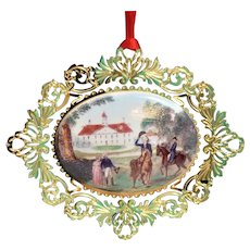 Mt Vernon 1996 Porcelain Christmas Ornament Gold Plated