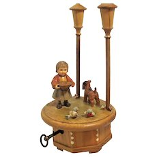 Anri Music Box, Girl & Dog, Thorens Swiss Movement Hand Carved, Danced All Night,