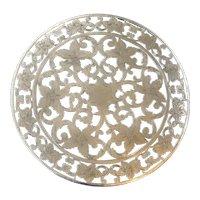 """Floral Cutwork Sterling Silver Trivet 6""""  Antique by Webster Co."""