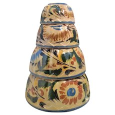 4 Nesting Mexican Mixing Bowls Tlaquepaque Flowers