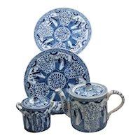 4 pc Set Long Eliza Tea Set Lange Lijzen Teapot Sugar & 2 Plates Chinoiserie