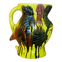 FISH Mexican Drip Ware Pottery Pitcher Oaxacan Margarita San Luis Potosi Folk Art