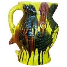 FISH Mexican Drip Ware Pottery Pitcher Oaxacan Margarita San Luis Potosi Folk Art