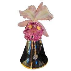 Orchid Cattleya Bell Franklin Mint Porcelain Bisque & Crystal 24K Gold Rim