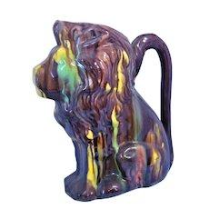LION  Mexican Drip Ware Pottery Pitcher Oaxacan Margarita San Luis Potosi Folk Art