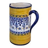Pitcher Blue & Yellow Portuguese Folk Art Faience Lace & Flowers