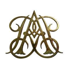 Brass Trivet Queen Ann Cypher Williamsburg Virginia Metalcrafters