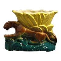 Mid Century Modern Planter Panther Jaguar in Jungle Grass Ceramic