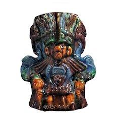 Mayan Warrior Mexican Drip Ware Pottery VASE Oaxacan Margarita San Luis Potosi Folk Art