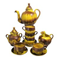 Mexico Drip Ware Yellow Coffee 14 Piece Service Cream Sugar Pot 4 Cups Oaxaca Pottery