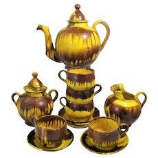 Mexico Drip Ware Yellow Coffee 14 Piece Service Cream Sugar Pot 4 Cups Oaxaca Pottery