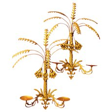 Pair of Grand-Scale Palm Tree Foliate Brass Two-Arm Wall Sconces Hollywood Regency MCM